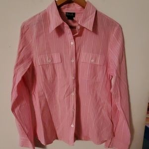 Rafaella Pink/White Striped Blouse - 14